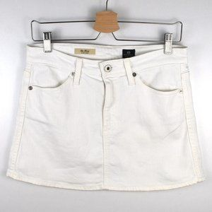AG Adriano Goldschmied White Denim Mini Skirt